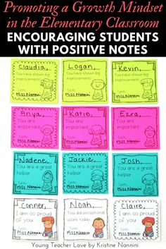 FREE! Positive Notes to Encourage Motivation and a Growth Mindset - Young Teacher Love by Kristine Nannini