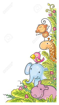 Buy Corner Frame with African Animals by katya_dav on GraphicRiver. Corner frame with cartoon African animals Cartoon Drawings, Easy Drawings, Drawing For Kids, Art For Kids, Scrapbooking Image, Kids Background, Borders And Frames, Animal Coloring Pages, African Animals