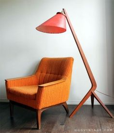 1960's MID CENTURY DANISH MODERN TEAK LOUNGE CHAIR ORANGE YELLOW | chairs, recliners | City of Toronto | Kijiji