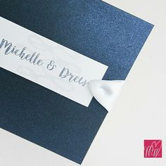 Pearlescent navy blue pocket fold invites Invites, Wedding Invitations, Navy Blue, Pocket, Handmade, Hand Made, Wedding Invitation Cards, Wedding Stationery, Wedding Announcements