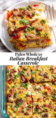 This Italian breakfast casserole is packed with goodies! Sausage, sun dried tomatoes, peppers, onions, garlic and spices! Paleo and compliant. Healthy Breakfast Recipes, Paleo Recipes, Whole Food Recipes, Cooking Recipes, Paleo Food, Healthy Breakfasts, Breakfast Smoothies, Whole30 Breakfast Ideas, Carb Free Breakfast