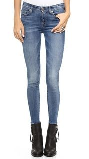 7 For All Mankind ~Luxe Skinny Jeans w/raw hem