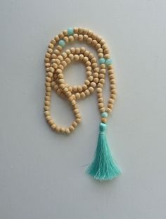 yoga by the sea - mint aqua tassel necklace - beach boho yoga necklace - inspired by buddhist mala prayer beads necklace on Etsy, $26.43 AUD