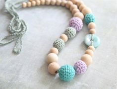 Tiffany Blue and Wisteria violet. Nursing crochet necklace with natural Jadeite/ Jade stone, ready to ship.