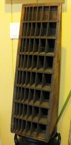 Antique 31 inch Industrial Look Printer's Letter Press Cubby Hole Cabinet C1900 | eBay