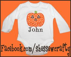 set of pumpkin applique and childs name with embroidery shirts for fall, halloween or thanksgiving! for boy or girl! (more at facebook.com/shessewcrafty)