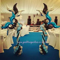Balloon Centerpieces, Centerpiece Decorations, Balloon Decorations, 15th Birthday, Birthday Bash, Masquerade Prom, Masquerade Masks, Night To Shine, Mardi Gras Decorations