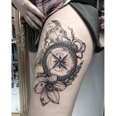 ... _denicexx_ #compass #edwardmiller #flower #map #cologne #tattoo
