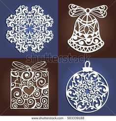 Set of openwork Christmas decorations. Laser cutting template. Christmas gift for wood carving, paper cutting and christmas decorations: compre este vector en Shutterstock y encuentre otras imágenes.