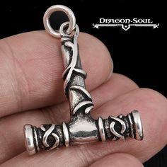 THE VIKINGS RUSTIC TREE THORS HAMMER PENDANT STERLING SILVER DRAGON SOUL JEWELRY #DragonSouljewelry