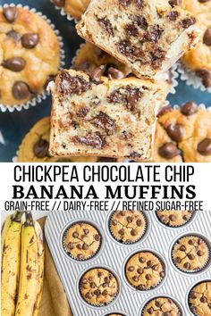 Chickpea Banana Muffins (Gluten-Free, Dairy-Free) - Flourless gluten-free Chocolate Chip Chickpea Banana Muffins are gluten-free, dairy-free, refined sugar-free and a lovely breakfast or snack! #glutenfree #grainfree #chickpeas #chickpeamuffins #bananamuffins #chocolate #breakfast #snack Good Healthy Recipes, Healthy Dessert Recipes, Fun Desserts, Healthy Eats, Gluten Free Cooking, Gluten Free Recipes, Banana Chocolate Chip Muffins, Gluten Free Muffins, Banana Bread Recipes