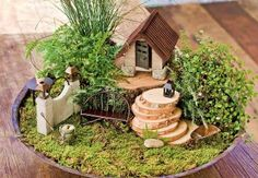 Miniature Garden With Log Cabin