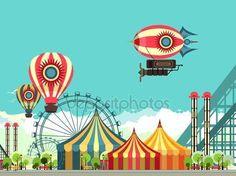 Скачать - Парк развлечений карнавал — стоковая иллюстрация #111661640
