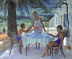 La pastèque à La Favière-Huile sur toile (132x165 cm)-Edmond Astruc
