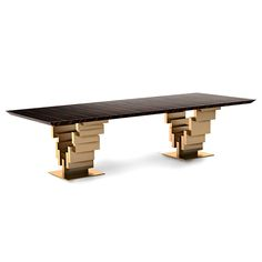 BRUSHED GOLD DINING TABLE - TAYLOR LLORENTE | Taylor Llorente Furniture