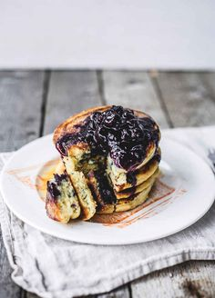 Clinton Street Bakery Blueberry Buttermilk Pancakes with Blueberry Compote and Maple Butter
