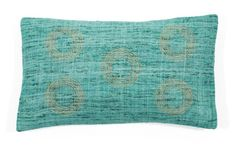 Matka Center 12x20 Silk Pillow, Aqua