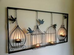 2013 Wrought Iron Home Decor Dove Candle Holders Wall Mounted Display… Kunst aus Metall Wall Mounted Candle Holders, Light Wall Art, Hanging Candles, Hanging Art, Hanging Frames, Metal Tree Wall Art, Iron Wall Art, Metal Wall Art Decor, Wire Art