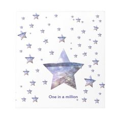 One in a million | Stars Notepad Million Stars, One In A Million, Referral Cards, Personalized Stationery, Pink Gifts, Special Person, Blue Fashion, Page Design, Home Gifts