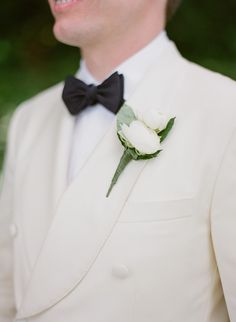 White Tuxedo Groom Style | KT Merry Photography | TheKnot.com
