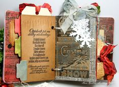 I love this idea - she created a journal to hold all of her Tim Holtz Christmas Tags.  Very clever!