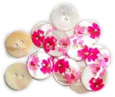 KN557a Bloemen knoop fuchsia & roze | Knopen | Fournituren & hobby