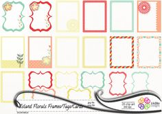 free digital art journaling  | Digital Frames Clip art Gift Tags Journal Cards instant download ...