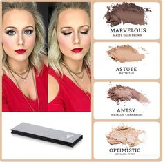 A neutral Eye and a red lip are one of my favorite things. I used a quad palette in the colors Marvelous, astute, Antsy, and Optimistic to create this look, combined with sizzling liquid lipstick. Follow me on Facebook at Rachele's Younique Beauty Bar to see a live tutorial of this look.