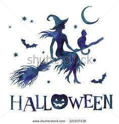 Silhouette of witch with cat on broom with moon and stars, watercolor hand paint vector illustration - stock vector