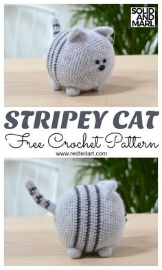 How to Crochet a Toy Cat. Adorable Solid and Marl Crochet Pattern Free Free Cat Crochet Pattern. How to Crochet a Toy Cat. Adorable Solid and Marl Crochet Pattern FreeFree Cat Crochet Pattern Stripey by Redtedart.With of free amigurumi and crochet to Chat Crochet, Crochet Mignon, Crochet Cat Toys, Crochet Cat Pattern, Crochet Patterns Amigurumi, Crochet Gifts, Crochet Dolls, Knitting Patterns, Things To Crochet