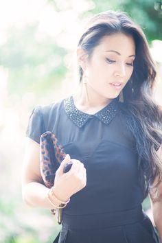 black sheer mesh romper, leopard clutch, love bracelet, roman numeral bracelet, gold tassel earrings