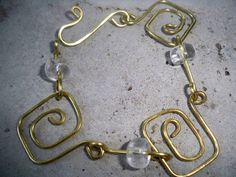 Brass & Quartz Greek Key Bracelet by ErikaBond on Etsy, $15.00