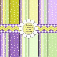 Purple, Lavender and Green Digital Backgrounds | Digital Papers | Digital Scrapbook Pages | Pretty Surface Patterns | Springtime and Easter