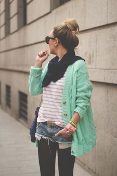 so super cute - love it all. Mint cardigan, pink stripe Tee, denim shorties and tights.