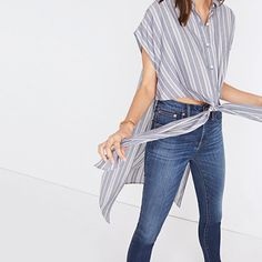 be73c12125 Side-Slit Tunic Shirt in Stripe