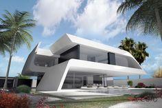 Minimalist Architecture, Modern Architecture House, Futuristic Architecture, Facade Architecture, Concept Architecture, Futuristic Home, Independent House, Home Modern, Unique House Design