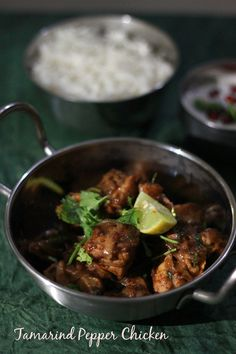 Tamarind Pepper Chicken  Tamarind Pepper Chicken  Recipe. Chicken cooked in a tamarind paste. Recipe makes enough to serve one person.