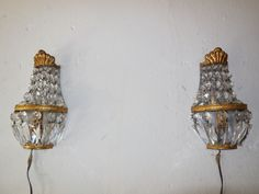 ~c1930 French Crystal Prisms Bronze Sconces Empire Rare Beautiful Vintage Beads~