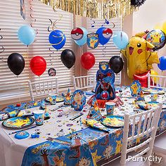 Evolve your decorating skills by adding tons of balloons, hanging swirl decorations & matching Pokemon tableware!