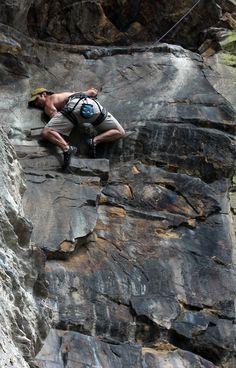 Climbing in Morrison, CO.