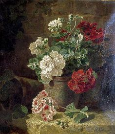 """'Still Life - Pelargoniums 1881' by Eloise Harriet Stannard (1829-1915) oil on canvas, 1881 42x36.9 cm signed and dated """"E.H. Stannard 1881"""""""