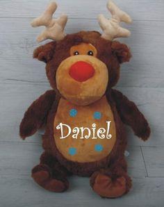 Reindeer Personalised Teddy Personalised Teddy Bears, Babys 1st Christmas, Reindeer, Dolls, Gifts, Animals, Personalized Teddy Bears, Presents, Animales