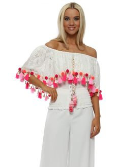 50cfe9cba49 We just adore this new season Laurie & Joe white crochet pom pom Milan top