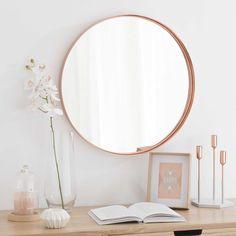 Bougie rose sous cloche H 18 cm Copper Mirror, Metal Mirror, Floor Mirror, Rose Gold Mirror, Baroque Mirror, Wall Mirror, Bougie Rose, Gold Bedroom Decor, Bedroom Furniture