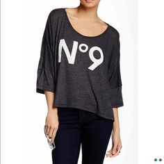 🎉HP 6/8🎉NWT Wildfox No 9 oversized top! Brand new in bag! Oversized fit! Charcoal gray. Wildfox Tops Tees - Long Sleeve