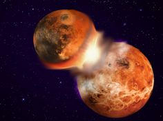 Illustration of a collision between two planetary bodies leading to the formation of the moon