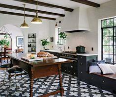 Cement tile floors  delight by design: Black, White + Brass