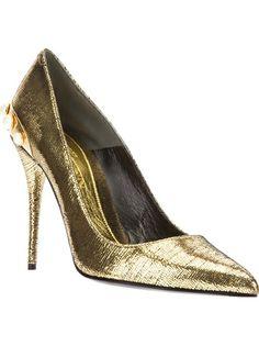 Alexander McQueen gold Pumps #genteroma