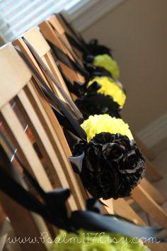 6 inch black rose pomander flower balls wedding decor. hanging flower balls. custom orders www.psalm117.etsy.com