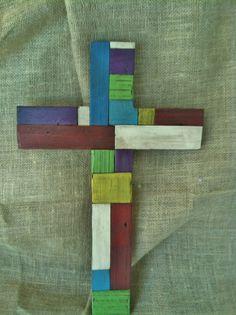 Patchwork Wood Cross Rustic Wood Cross by LowerArkCrafts on Etsy